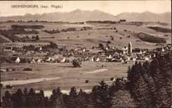 Postcard Obergünzburg im schwäbischen Kreis Ostallgäu, Blick auf den Ort, Berge