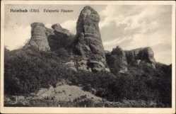 Postcard Heimbach in der Eifel, Blick auf Felspartie Hausen, Vegetation