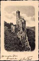 Künstler Ak Lichtenstein Württemberg, Blick auf das Schloss, Felsmassiv, Wald