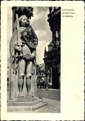 Passepartout Ak Bremen, Blick auf den Roland am Rathaus, Wappen, Schwert