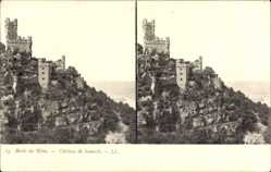 Stereo Ak Burg Sooneck bei Niederheimbach, Berg, Aufgang, Felsen