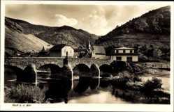 Postcard Rech an der Ahr in Rheinland Pfalz, Stadtpanorama, Brücke, Turm, Fachwerk
