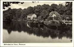 Postcard Woltersdorfer Schleuse, Oberwasser, Gebäude, Wald, Uferpartie