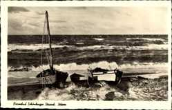 Postcard Schönberger Strand Schönberg, Ostseebad, Meer bei Sturm, Boote, Ufer