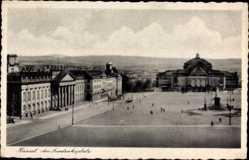 Postcard Kassel, Blick auf den Friedrichplatz, Gebäude, Denkmal, Passanten