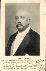 Postcard Félix Faure, 7. Präsident Frankreichs, Portrait