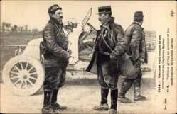 Postcard Vedrines rend compte de ses observations au Capitaine Leclerc, Guerre 1914