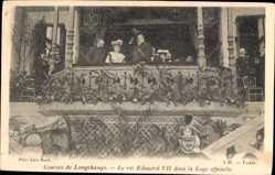Ak Courses de Longchamps, König Eduard VII. von England, Loge officielle