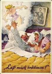 Künstler Ak Lass mich träumen, Ehepaar im Bett, Feuchter Traum
