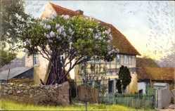 Ak Nenke und Ostermaier 1195, Fachwerkhaus, Frühlingsblüte