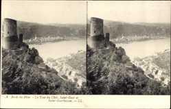 Postcard Stereo Ak St. Goar im Rhein Hunsrück Kreis, St. Goarhausen