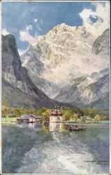 Künstler Ak Compton, Edward Harrison, Schönau Königssee, St. Bartholomä