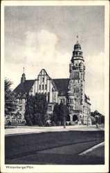 Postcard Wittenberge in der Prignitz, Straßenpartie mit Blick auf das Rathaus