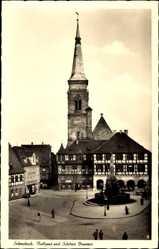 Postcard Schwabach in Mittelfranken Bayern, Rathaus und Schöner Brunnen