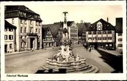 Postcard Schwabach in Mittelfranken Bayern, Marktplatz, Brunnen