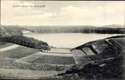 Postcard Gillenfeld Rheinland Pfalz, Pulver Maar, Felder