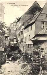 Postcard Monschau Montjoie in Nordrhein Westfalen, Alte Häuser am Laufenbach