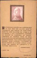 Postcard Georges Clemenceau, Portrait, A confiance placee par la Republique, 1918