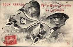 Schmetterling Ak Limousin, Frauen und Kinder in Tracht