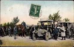 Postcard Ulanen, Autos, Kaiser Wilhelm II. von Preußen mit Kronprinz, Soldaten