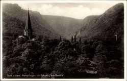 Postcard Thale im Harz, Parkanlagen und Eingang zum Bodetal, Kirchturm