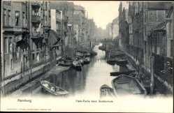 Postcard Hamburg Mitte, Fleth Partie beim Stubbenhuk, Ruderboote, Häuser