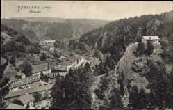 Postcard Rübeland Oberharz am Brocken, Blick auf den Ort im Bodetal, Felsen