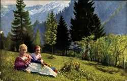 Postcard Oberammergau in Oberbayern, Zwei Frauen in Bayerischer Tracht