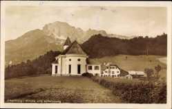 Postcard Ettenberg Marktschellenberg, Blick auf die Kirche und Untersberg