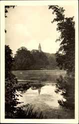 Postcard Sondershausen im Kyffhäuserkreis Thüringen, Parkteich mit Blick zum Schloss