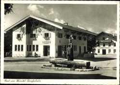 Postcard Reit im Winkl im Kreis Traunstein Oberbayern, Dorfplatz, Gasthof Löwen, Post