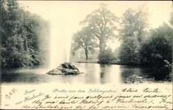 Postcard Karlsruhe in Baden Württemberg, Partie aus dem Schlossgarten, Wasserfontäne