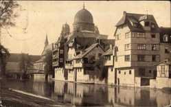 Postcard Nürnberg in Mittelfranken Bayern, Insel Schütt mit Blick auf Synagoge