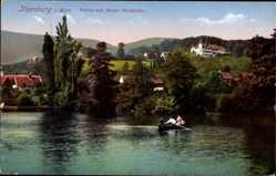 Postcard Ilsenburg am Nordharz, Partie mit Hotel Waldhöhe, Ruderboot, Gewässer