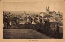 Postcard Quedlinburg im Harz, Totalansicht der Ortschaft, Kirche, Häuser