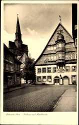 Postcard Osterode in Niedersachsen, Rathaus und Marktkirche