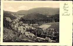 Postcard Bad Grund im Harz, Blick vom Knesebeck, Panorama