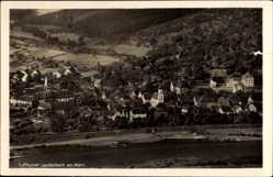 Postcard Laudenbach Main Unterfranken, Totalansicht vom Ort, Fluss