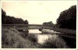 Foto Ak Mesum Rheine in Nordrhein Westfalen, Flusspartie, Brücke
