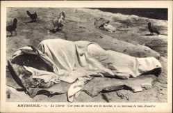 Ak Abessinien Äthiopien, La Literie, Une peau de vache sert de matelar