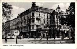Postcard Szczecin Stettin Pommern, Am Königsplatz, Straßenpartie, Konditorei Willi