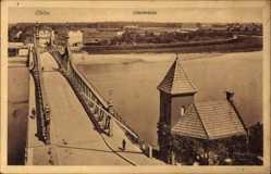 Postcard Oława Ohlau Schlesien, Oderbrücke aus der Vogelschau, Fluss