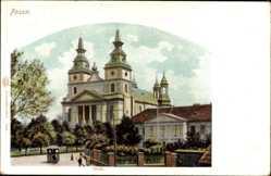 Postcard Poznań Posen, Ansicht vom Dom, Straßenpartie, Straßenbahn