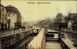 Postcard Maubeuge Nord, Quai des Nerviens, Schleuse, Pferdekutsche
