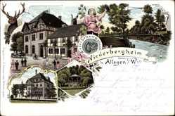 Litho Niederbergheim Warstein im Kreis Soest, Erfrischungshaus, Pavillon