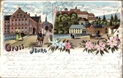 Postcard Bad Iburg in Niedersachsen, Gasthof Stapenhorst, Häuser, Kutsche