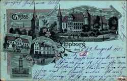 Mondschein Litho Lippborg Lippetal, Haus Assen, Kriegerdenkmal, Pfarrhaus