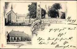 Postcard Schwagstorf Fürstenau in Niedersachsen, Kirche, Pensionat St. Marienstift