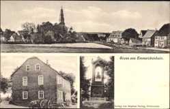 Postcard Emmerichenhain Rennerod, Denkmal, Kirchturm, Fuhrwerk, Gastwirtschaft