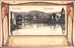 Jugendstil Ak Nassau im Rhein Lahn Kreis, Blick auf die Kettenbrücke, Fluss